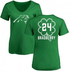 Women's James Bradberry Carolina Panthers Green St. Patrick's Day Name & Number V-Neck T-Shirt